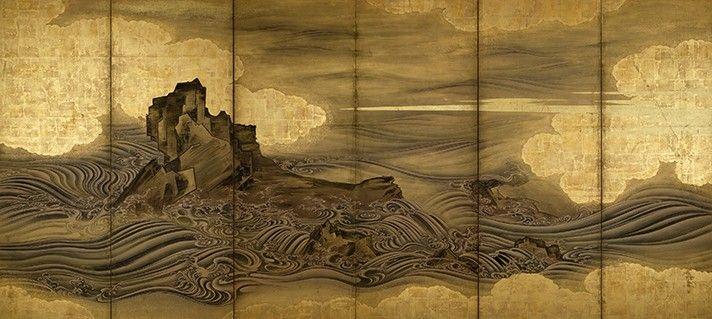 "Attributed to Hasegawa Tōgaku, ""Waves and Rocks,"" Momoyama period, early 17th…"