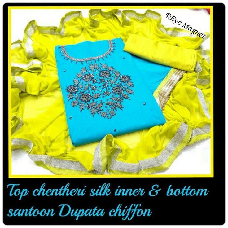 Top chanderi silk, bottom & innner santoon, Chiffon dupatta