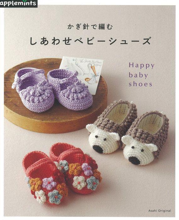 Baby Crochet Shoes, Slippers Pattern, Japanese Crochet Pattern Book, Easy…