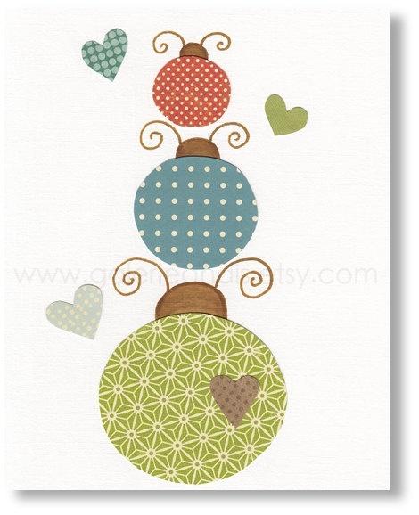 Nursery art prints, baby nursery decor, nursery wall art, kids art, baby art, nursery ladybugs, One Two Three 8x10 print