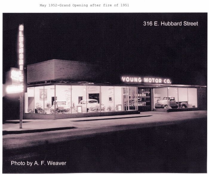 My grandfather's (Cecil Young) car dealership in Mineral Wells, Tx.  He sold Cadillacs, Pontiacs, Oldsmobiles, and GM trucks.  Photo taken by my dad, A. F. Weaver.