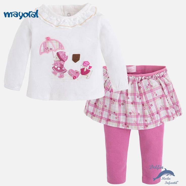 Conjunto de bebe niña MAYORAL NEWBORN camiseta y leggings con falda