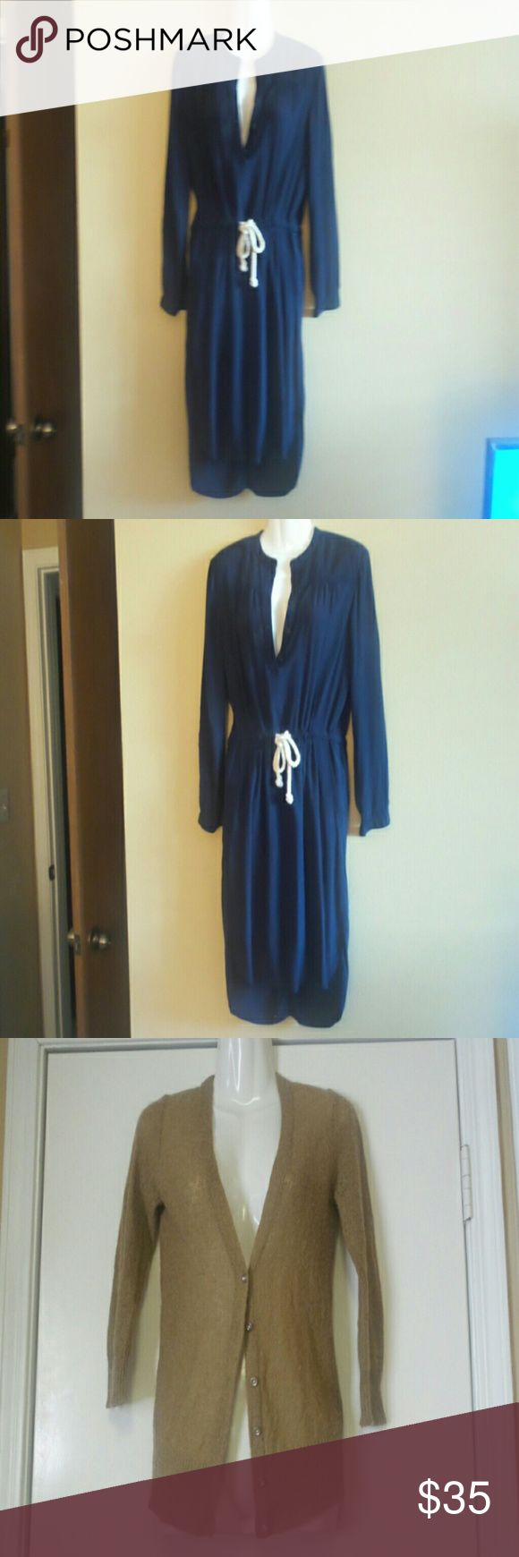 J.Crew bundle dress and cardigan XXS J.Crew bundle dress and cardigan in XXS. Jcrew dress in navy blue in preowned but excellent condition. Used once. It has a mandarin collar with pockets. It is a high to low dress. I'm 5'0 and it is ideal for those ladies between 5'0  and 5'2. Jcrew tan cardigan that is marked XS but is a bit tight so I'm saying it's XXS also.  Made of acrylic and nylon. Both dry clean only. However, I hand washed the dress and it turned out perfectly. J. Crew Factory…