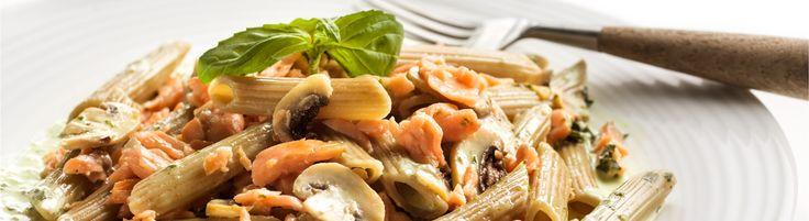 Macarronete com azeitona, salm�o fumado, cogumelos e creme de manjeric�o