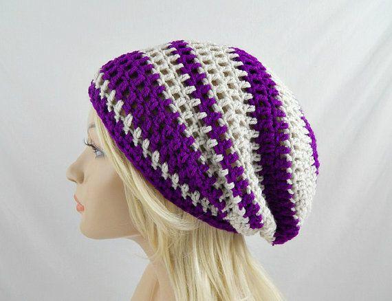 Neon Purple and Beige Slouchy Beanie, Womens Crochet Slouchy Hat, Slouchy Winter Hat, Crochet Beanie, Crochet Hat, Striped Beanie