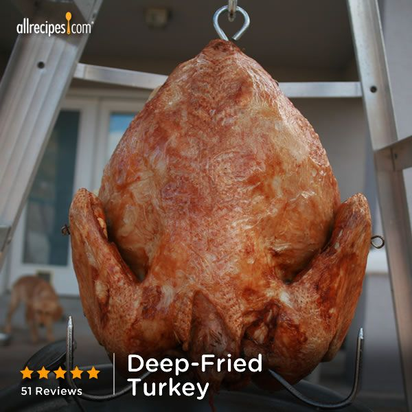 """""""This is an awesome Cajun recipe. Deep-frying makes the #turkey crispy on the outside and super juicy on the inside (even the white meat)."""" —Tim and Meredith   Repin to try it! (Deep-Fried Turkey) http://allrecipes.com/video/136/deep-frying-turkey/detail.aspx?lnkid=7171"""