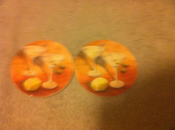 (2) Martini / Wine Glass Coasters--cork Backing--absorbant Stone-free Ship-vgc
