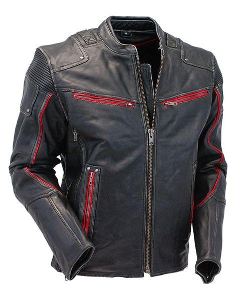 Men's Red Trim Ultimate Vintage Black Vented Racer Jacket w/CCW