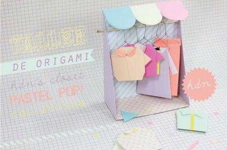 Tiny origami closet + clothes - cute