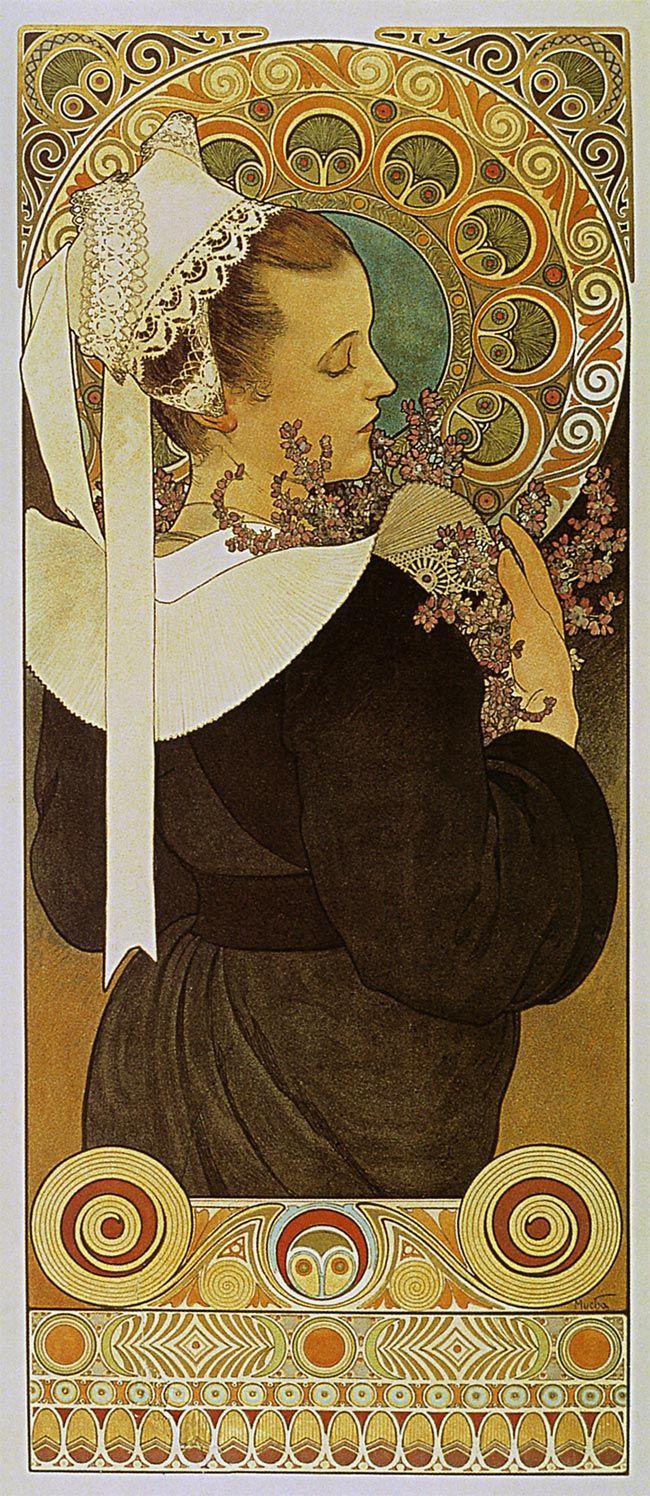 アルフォンス・ミュシャ-ヒースの花-
