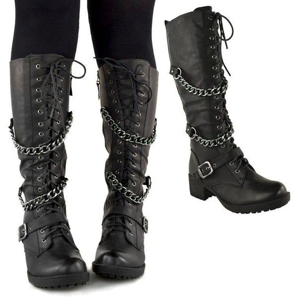 LADIES WOMENS KNEE HIGH MID CALF LACE UP BIKER PUNK MILITARY COMBAT... ❤ liked on Polyvore featuring shoes, boots, combat booties, knee high combat boots, military fashion, military combat boots y mid-calf lace up boots