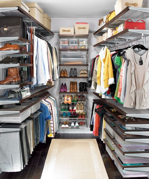 This would fit our closet perfectly...The Container Store > Walnut & Platinum elfa décor Walk-In Master Closet.. Having shelves up higher instead of the clothes makes it look less crowded