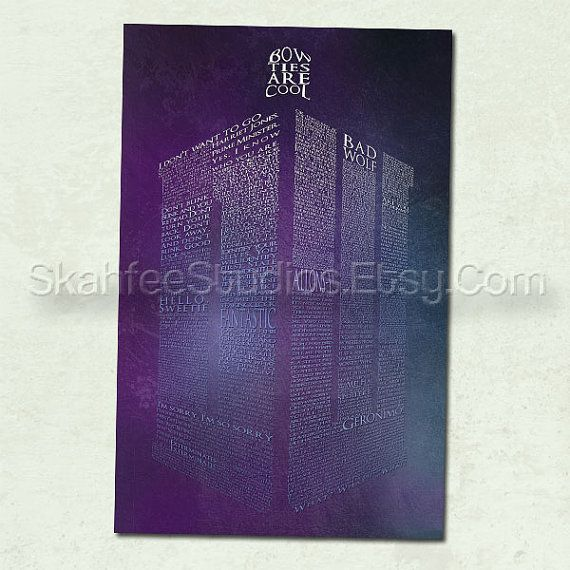 This Doctor Who poster print features the shape of the Doctors TARDIS, formed with great lines of dialogue from Doctors nine, ten, and eleven. The