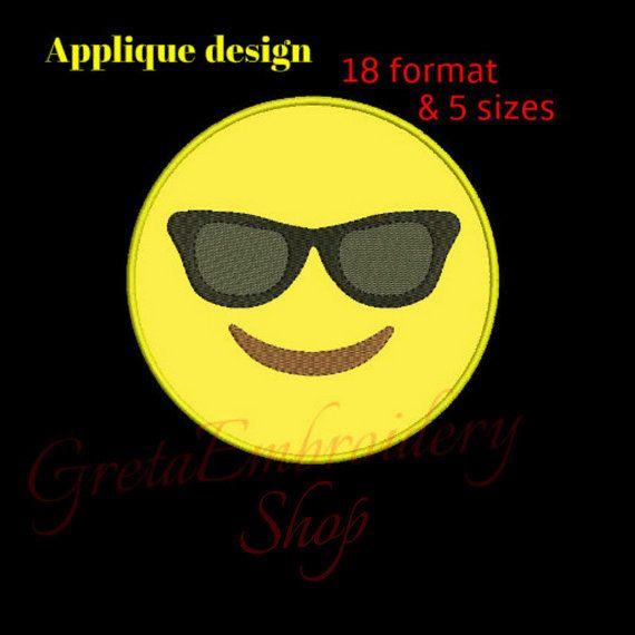 Sunglasses smiley embroidery design,cool emoji applique embroidery design,happy face, emoticon, cool face, embroidery applique,smiley design