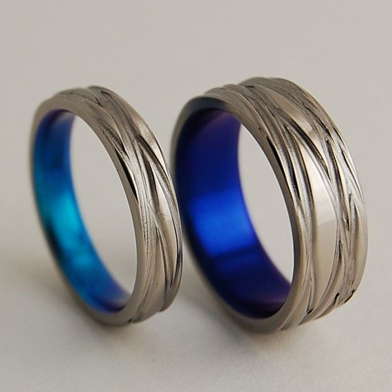 Titanium Wedding Rings , The Sphinx Bands in Nightfall and New Beginning Blue