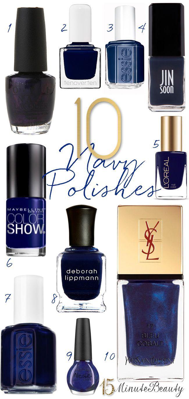 10 Great Navy Nail Polishes for Fall via 15MinuteBeauty.com