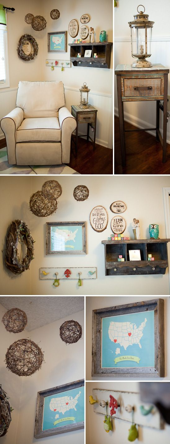 Beckham's Charming Rustic Nursery (maybe for future boy nursery--love the twig spheres)