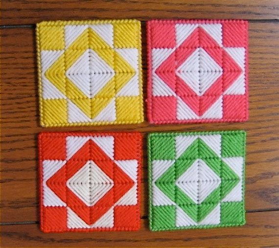 Coasters Quilt Block - Yellow Pink Orange Lime - Set of 4 Double Thick Drink Mug…
