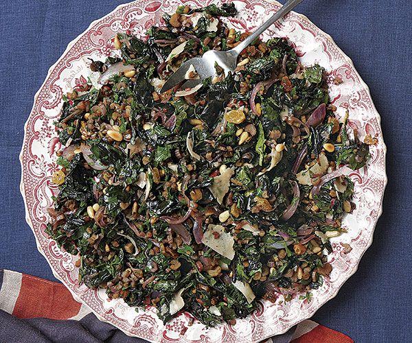 Sautéed Seasonal Greens with Pine Nuts and Raisins Recipe