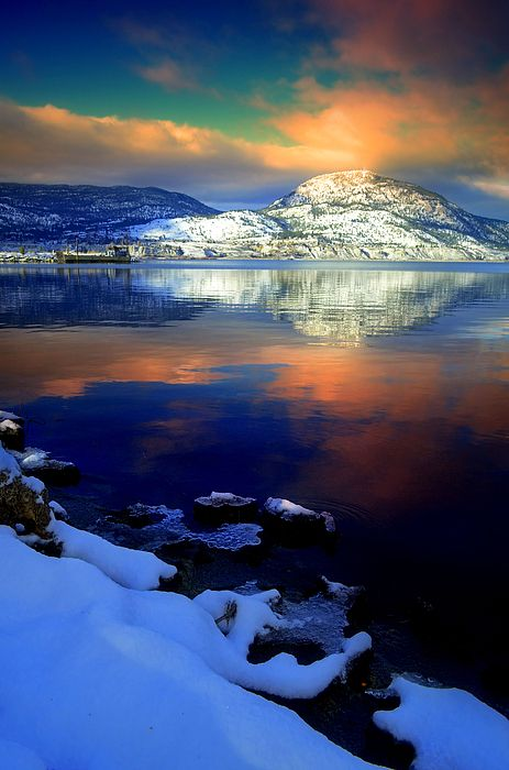 Morning light captured at Okanagan Lake after a fresh snowfall, Penticton BC Canada
