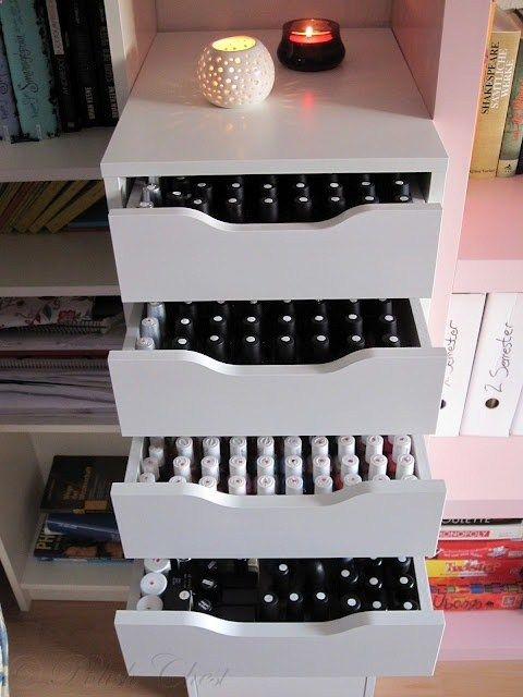 Polish Chest: IKEA   I do not have enough nail polish but if you do this is a great idea for your bedroom .