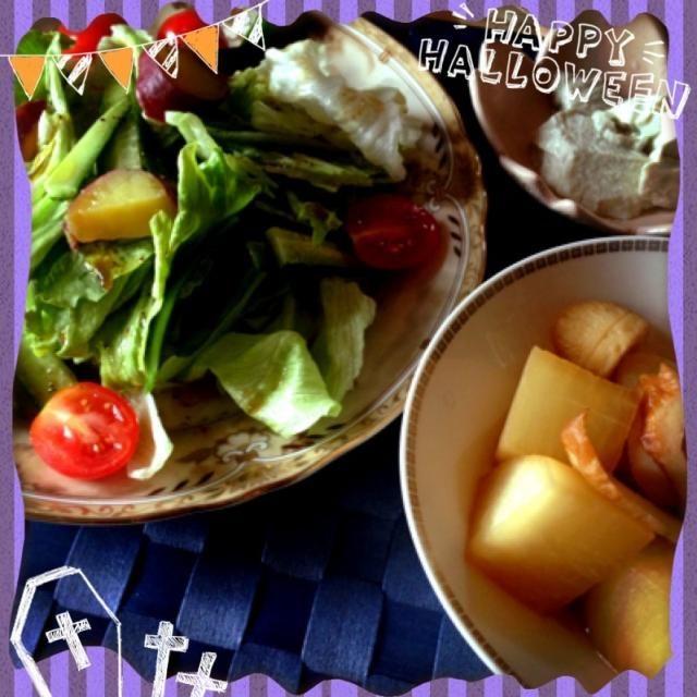 大根とちくわの煮物 サラダ〈さつまいも レタス フルーツトマト きゅうり〉 - 45件のもぐもぐ - 大根煮物*ごま豆腐*サラダ by Misatocafe