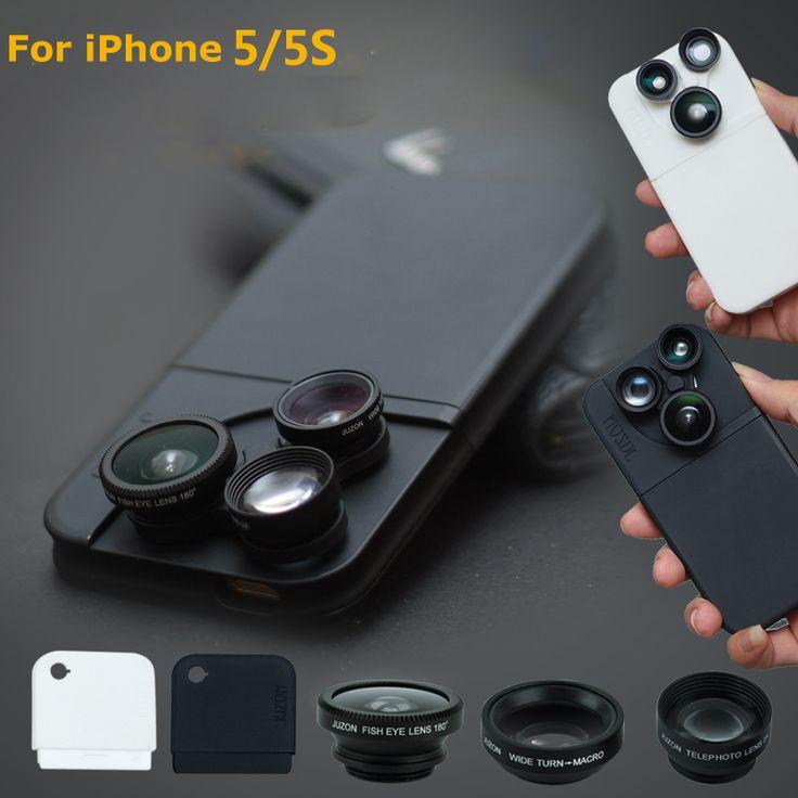 4in1 Camera Fish Eye Wide Angle Macro Fisheye Telescopio Lens kit lente olho de peixe ojo de pez For para celular iphone 5 5S S