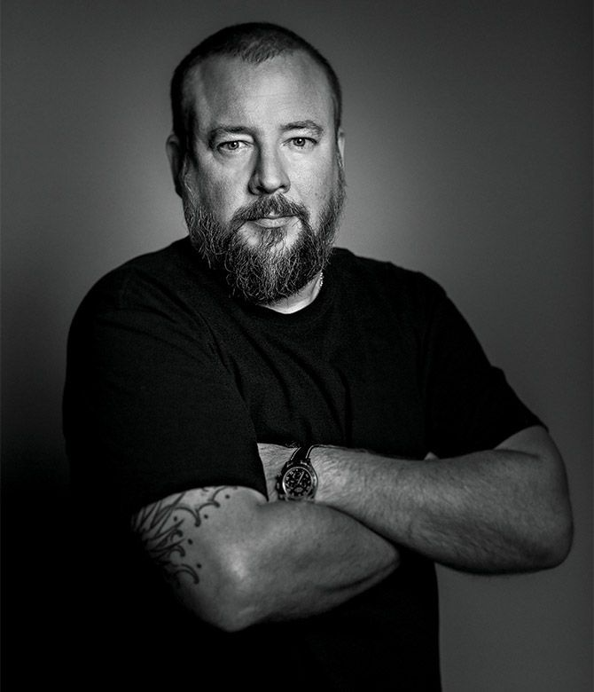 Black and white portrait of Vice co-founder and CEO Shane Smith