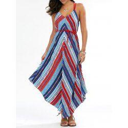Chevron Handkerchief Backless Casual Summer Maxi Dress In Colormix | Twinkledeals.com