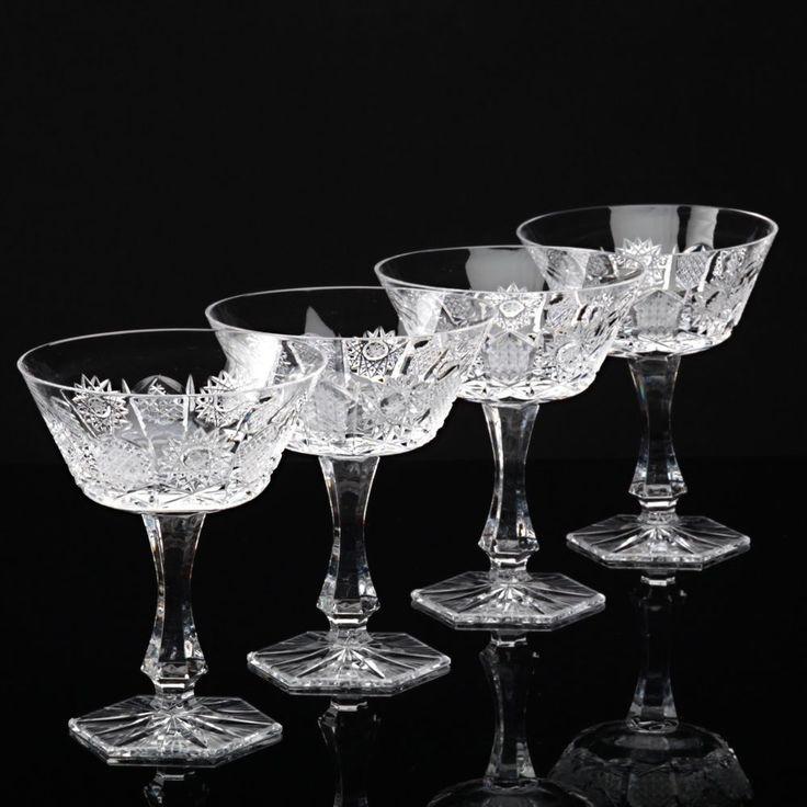 4 Vintage Sektschalen Kristall Gläser BOHEMIA Bleikristall Stern Schliff Glas S