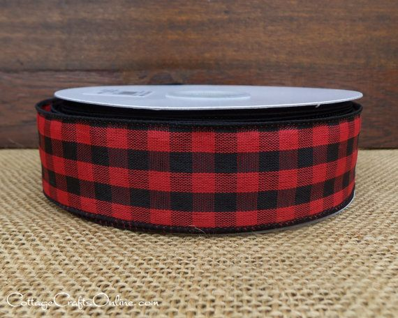 """Red and Black Check Wired Ribbon, 1 1/2"""" wide."""
