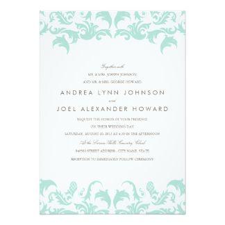 Elegant Blue Damask Wedding Invitation