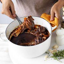 Slow-cooked balsamic lamb shanks