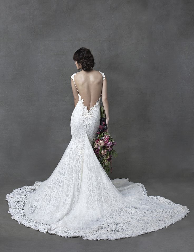 Bride in Berta Bridal wedding gown with embroidered spaghetti straps and sexy bare back // Love Letters From a Beloved - A Styled Shoot {Facebook and Instagram: The Wedding Scoop}