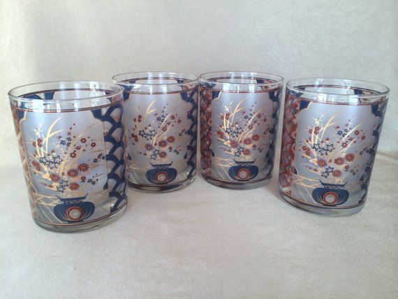 Culver Rocks Glasses 22k Gold Imari Vintage Barware by DotnBettys