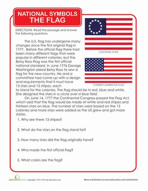Political/Voting/Civic Holidays & Occasions Third Grade History Worksheets: History of the American Flag
