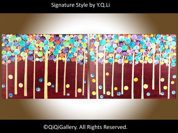 48 Large Abstract Landscape Handmade Painting Original Modern Metallic gold Trees Fantasy Woodland by QIQIGALLERY via Etsy