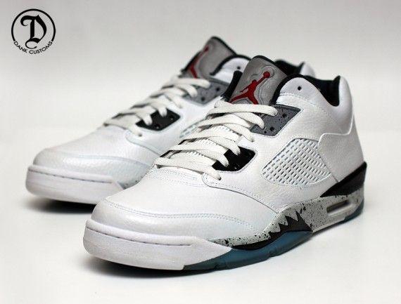 air jordan v low white cement customs 04 570x433 Air Jordan 5 Low  White/Cement