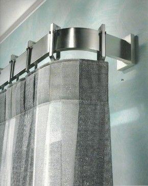 Window treatments, curtain poles and tie backs contemporary curtain poles. Love the sleekness