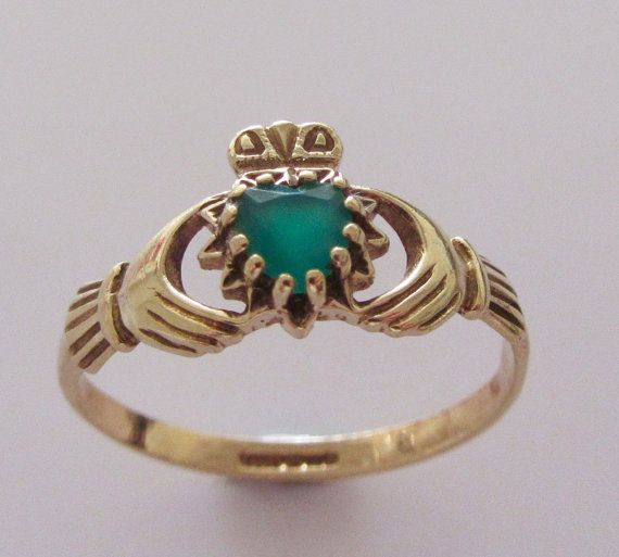 9ct Gold and Emerald Claddagh Ring UK size by Britishgoldandsilver