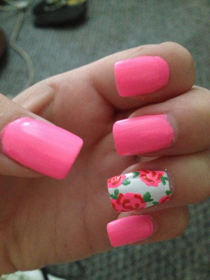 Floral hot pink nails 707 best Accent
