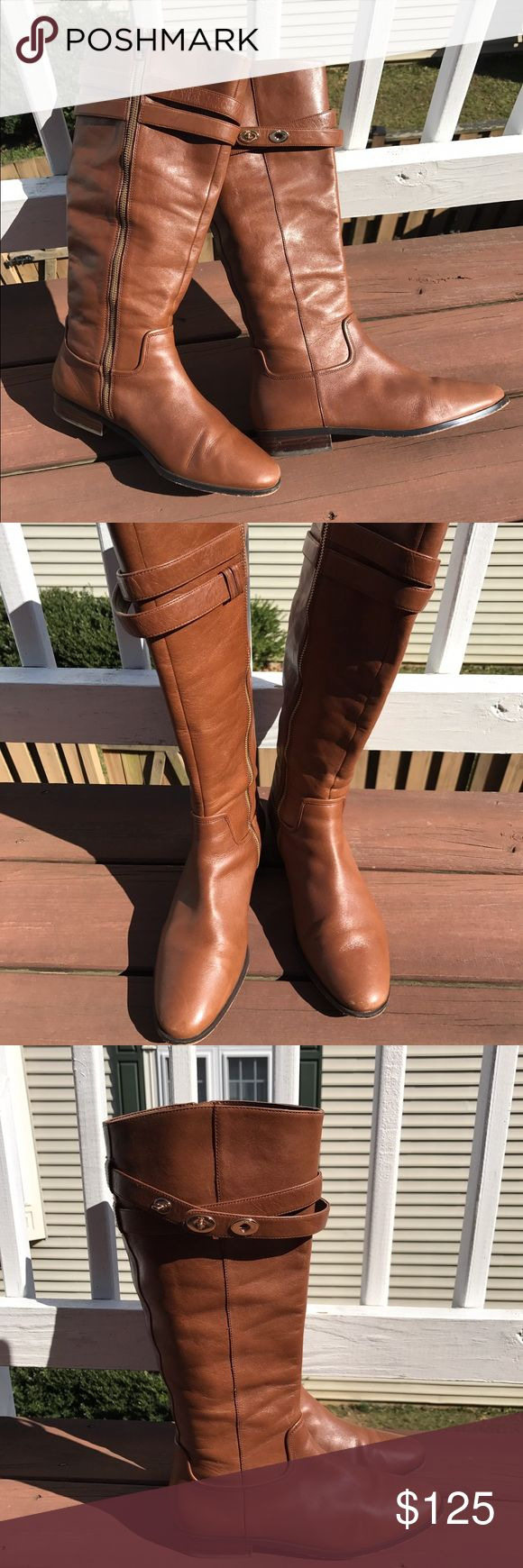 Authentic Coach british tan leather boots. Flat knee boots that I absolutely LOVE ❤️, but unfortunately, I've gained weight and my calf is too big for them. They are in great shape, only had a chance to wear them a couple times.  Get 'head and strut your stuff girl!!! 👢 Coach Shoes