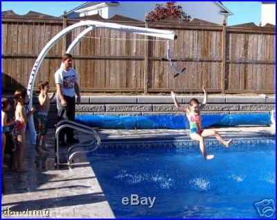 ingroud swimming pool with decks xtreme slide n glide inground swimming pool above ground deck zip line backyard design pinterest swimming pools