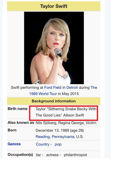 """'Snake Becky With the Good Lies""""-Taylor Swift's Wiki page updated by hackers"""