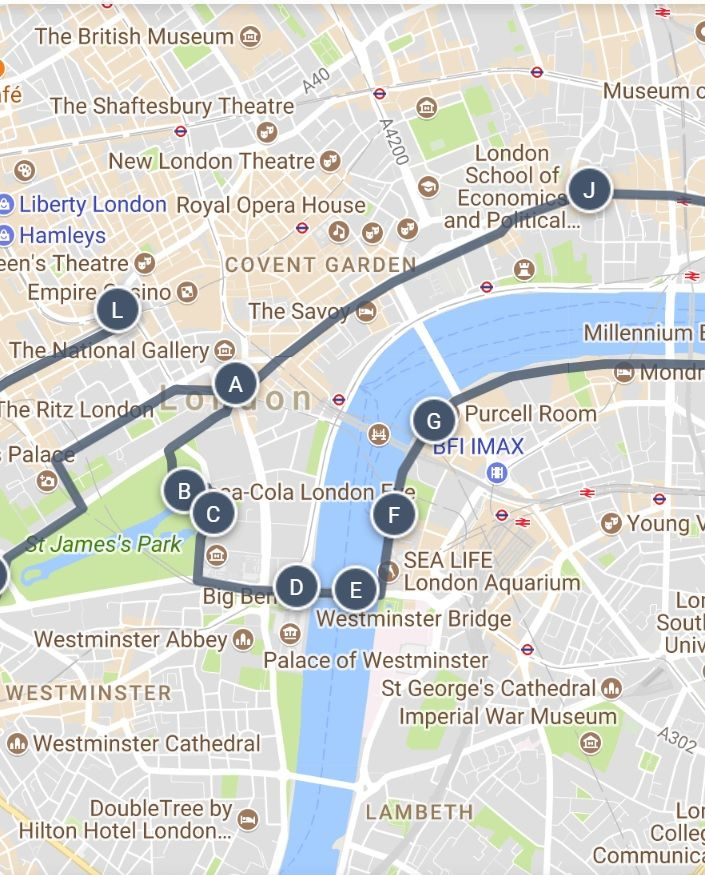 London Landmarks Map.A Long Walk Of Famous London Landmarks Sightseeing Walking Tour Map