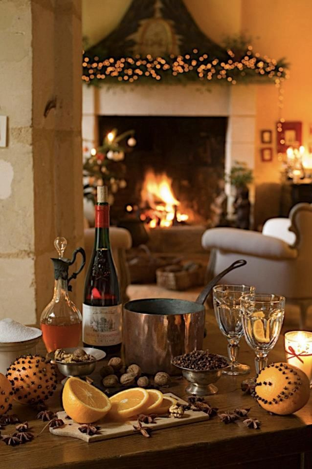 Warm, cozy evening by the fire