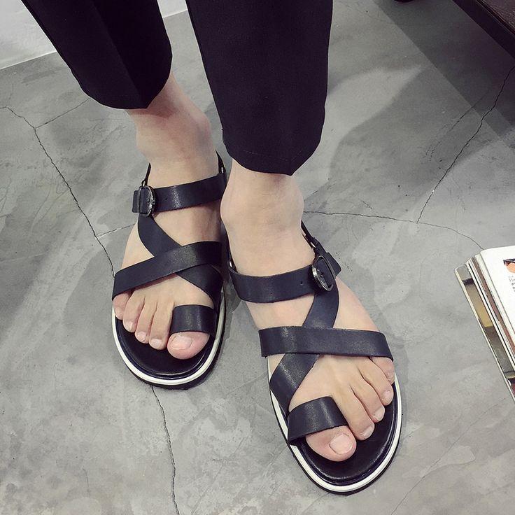 EGE MARCA Sandalias de Los Hombres Nueva Moda Británica de Alta Calidad de Cuero Genuino Zapatos Masculinos Playa Ocio Antideslizante Suela de Las Sandalias para Los Hombres en Sandalias de los hombres de Zapatos en AliExpress.com | Alibaba Group