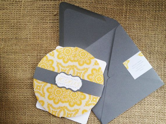 27 best round invitation images on pinterest invitation ideas customizable morocco round yellow gray wedding invitation belly band intricate elegant contemporary modern trendy unique creative stopboris Image collections