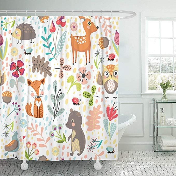 Emvency Shower Curtain Colorful Hedgehog With Cute Cartoon Forest