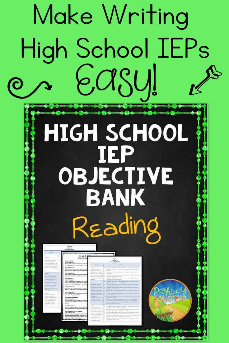 High School IEP Goal and Objective Bank for Reading. A tool for special education teachers to write IEPs that are aligned with common core standards.